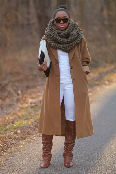 thrifted coat - Steve Madden boots - Forever 21 jeans - Gap scarf