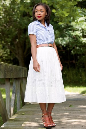 JCrew top - Anthropologie dress - Gap belt - Pelle Moda heels