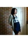 Beige-sweater-gray-plaid-shirt-blue-my-own-design-skirt