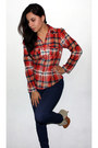 Tawny-ante-qupid-boots-navy-h-m-pants-ruby-red-tartan-muuah-blouse