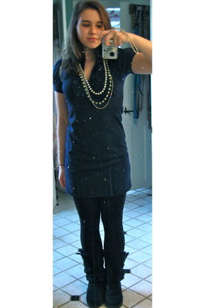 black Forever 21 leggings - blue TJ Maxx dress - black Ugg boots