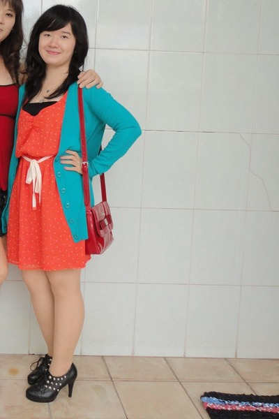 orange Zara dress - red Harrods bag - turquoise blue Forever21 cardigan