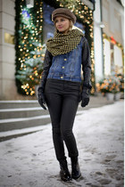 yellow Vero Moda scarf - black Topshop boots - black Vero Moda jeans