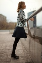 black Zara boots - black River Island skirt - white Topshop sweatshirt