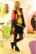 black Stradivarius sneakers - hot pink Jambangee jacket - yellow Topshop sweater
