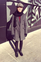 heather gray wool UrbanRenewal coat - black chelsea boots Zara boots