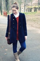 navy camaieu coat - camel boots - carrot orange New Yorker sweater