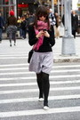 Pink-scarf-black-shirt-white-shoes-silver-skirt-black-leggings