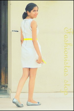 neon Aldo bag - white Zara dress - neon pieces belt - sequined D and A flats