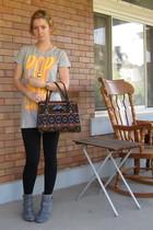 ModClothcom t-shirt - leggings - ModClothcom boots - vintage purse - ModClothcom