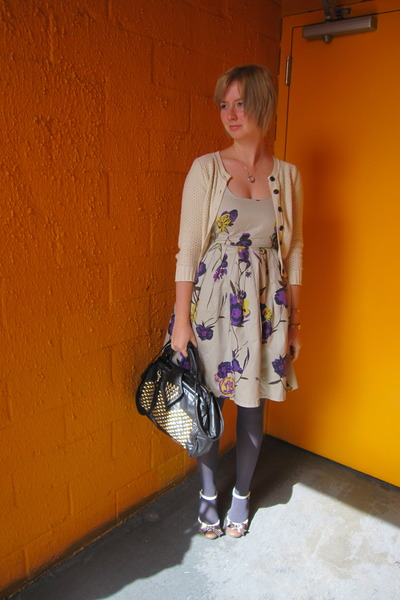 gray BB Dakota dress - brown Poetic License shoes - beige ModClothcom sweater -