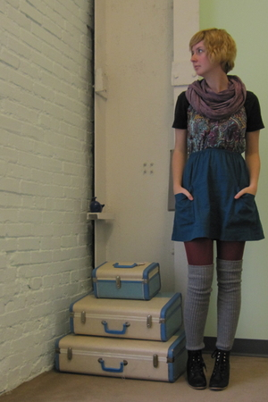 pink ModClothcom scarf - blue ModClothcom dress - red ModClothcom tights - silve