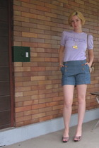 vintage top - Nick & Mo shorts - Pink Studio shoes - ModClothcom necklace