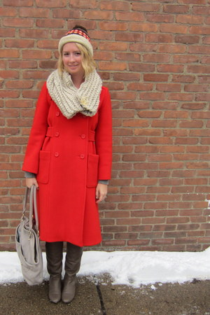ModClothcom boots - red thrifted christian dior coat - vintage hat - ModClothcom