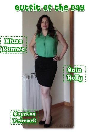 romwe blouse - Primark heels - Nelly skirt - romwe bracelet - Parfois earrings