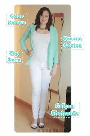 romwe necklace - Choies coat - Sheinside jeans - Zara top - romwe bracelet