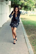 black leather Zara jacket - black sequins Zara top - black Zara skirt