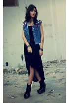 black Jeffrey Campbell boots - black Agne dress - navy diy Susanna Vesna vest