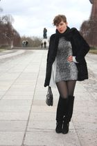 gray vintage dress - black vintage shoes - black vintage accessories - black vin