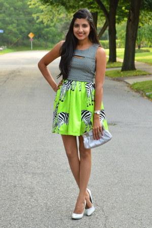 neon Ebay skirt - black Forever 21 top - silver Forever 21 pumps