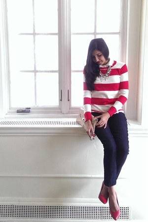 red stripe H&M sweater - navy Forever 21 jeans - red Henry Ferrera pumps