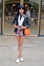 Black-leather-sleeve-h-m-blazer-white-express-shirt-orange-tory-burch-bag