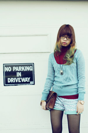 turquoise blue sweater - ruby red sweatshirt