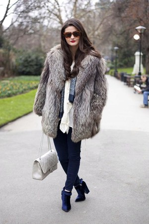 silver fluffy fur thrifted vintage coat
