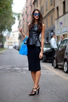 black leather peplum Express blouse