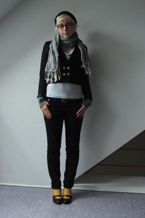 H&M blazer - H&M shirt - H&M vest - H&M scarf