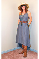 beige TJ Maxx hat - bronze Anthropologie boots - sky blue TJ Maxx dress