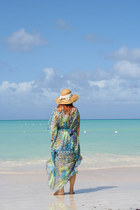 tan TJ Maxx hat - turquoise blue TJ Maxx swimwear