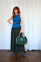 teal owl handbag Anthropologie bag - black wide leg BCBGeneration pants