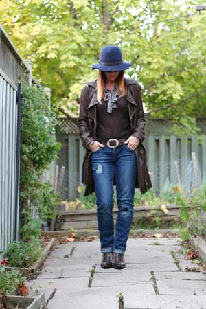 dark brown danier jacket - navy garage jeans - navy Gap hat