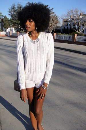 white vintage sweater - white diy Forever 21 shorts - neutral H&M flats