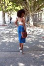 Brown-thrifted-bag-silver-heart-in-d-heels-blue-vintage-skirt