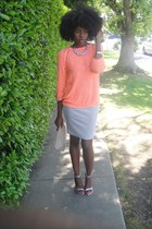 heather gray poof skirt - light orange H&M sweater - silver Heart in D heels