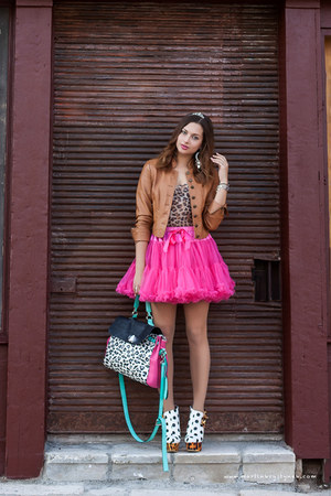 hot pink from Ebay skirt - brown Orsay jacket - aquamarine Fiorelli bag