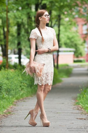 nude new look heels - beige Sheinside dress - light pink Primark bag