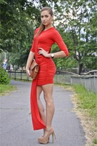 red OASAP dress - brown Salvatore Ferragamo bag - neutral new look heels