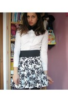 white lifeline shirt - white floral print Dorothy Perkins skirt - black bow seco