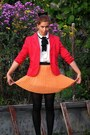 Red-from-second-hand-blazer-white-romwe-blouse-orange-romwe-skirt