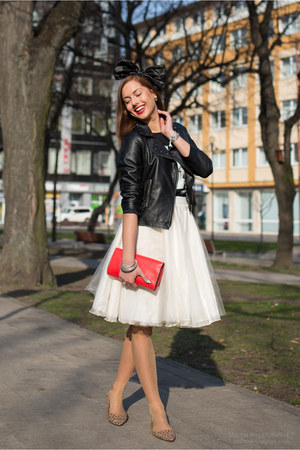 ivory DIY skirt - black Primark jacket - red unknown bag - tawny vintage flats