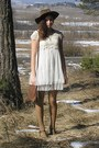 Brown-f-f-shoes-ivory-romwe-dress-dark-brown-daddys-hat-tan-bepon-tights-