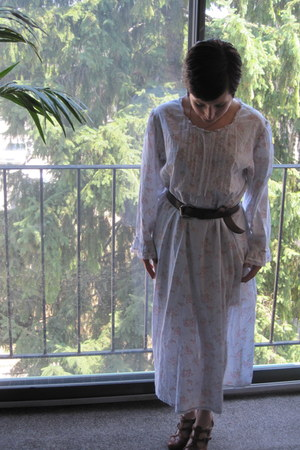 white Laura Ashley dress - dark brown unknown brand belt - tawny McKenzie wedges
