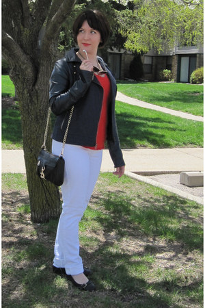 white Old Navy jeans - navy Kut jacket - black Rebecca Minkoff bag