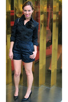navy Marc Jacobs shorts - black button down Victorias Secret top