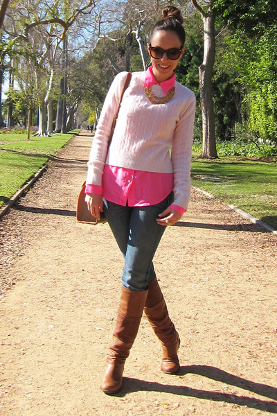 brown stuart weitzman boots - navy Paige jeans - off white Aqua sweater