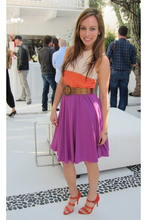 carrot orange color block H&M dress - amethyst Tart skirt