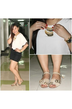 Bedazzle necklace - Chic Chic top - cotton on skirt - Singapore brand sandals